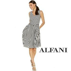 [Plus: 16W] Alfani - Fit & Flare Striped Dress